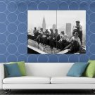 Construction Sctructural Workers Lunch Beam Old Retro HUGE 48x36 Print POSTER