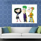 Phineas And Ferb Characters Cool Cartoon Art HUGE 48x36 Print POSTER