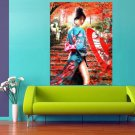 Japanese Sexy Geisha Autumn Red Leaves 47x35 Print Poster