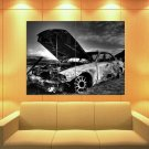 Old Burned Car Clouds Abandoned Place Bkack White 47x35 Print Poster