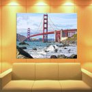 Golden Gate Bridge San Francisco Bay Usa Amazing Huge Giant Print Poster