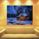 Evening Country House Winter Aurora Snow Painting Huge Giant Print Poster