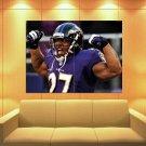 Raymell Mourice Rice Baltimore Ravens Scream Huge Giant Print Poster