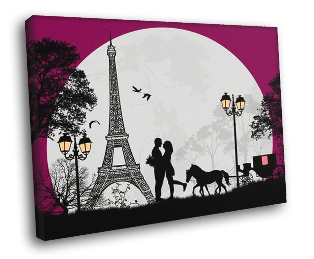 Love Couple France Paris Eiffel Tower Design Art 30x20 Framed Canvas Print