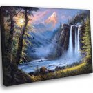 Amazing Painting Art Waterfall Forest Mountain 30x20 Framed Canvas Print