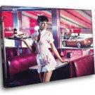 Girl American Waitress Pin Up Coca Cola Sexy Babe 30x20 Framed Canvas Print