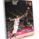 LeBron James Monster Dunk Posterize Olympics 30x20 Framed Canvas Print