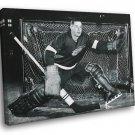 Glenn Hall Detroit Red Wings Goaltender BW Hockey 30x20 Framed Canvas Print