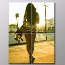 Surfboard Sunset Sexy Ass Basketball Court Fitness 30x20 Framed Canvas Art Print