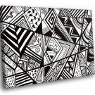 Black White Doodle Triangles 30x20 Framed Canvas Art Print