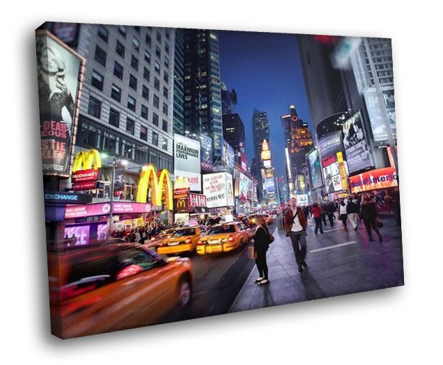 New York Night Taxi Billboards Lights 30x20 Framed Canvas Art Print
