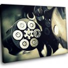 Weapon Revolver Bullet 30x20 Framed Canvas Art Print