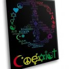 Coexist Peace Sign Art 30x20 Framed Canvas Art Print
