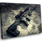 Army Weapon Sniper Rifle Noise Suppressor Stones 30x20 Framed Canvas Art Print