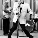 Elvis Presley Singer Rock And Roll Microphone Retro BW 32x24 Wall Print POSTER