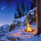 Mountain Campfire Nature Landscape Comet Painting 32x24 Print Poster