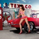 Gas Station Sexy Babe Woman Car Miss Tuning 32x24 Print Poster