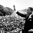 MLK Martin Luther King Jr Crowd Waving Old Retro BW 24x18 Wall Print POSTER