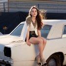 Emilia Clarke Retro White Car Actress 24x18 Wall Print POSTER