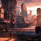 Post Apocalyptic Dystopian City Ruins Kid Sci Fi Art 24x18 Wall Print POSTER