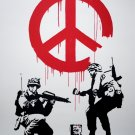 Banksy Peace Sign Soldiers Pacifism Graffiti Street 24x18 Print Poster