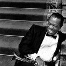 Louis Armstrong BW Portrait Saxophone Laugh Retro Rare 16x12 Print POSTER