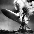 The Hindenburg Disaster Airship Fire Retro BW 16x12 Print POSTER