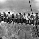 Lunch Atop A Skyscraper Workers Building Retro Old BW 16x12 Print POSTER