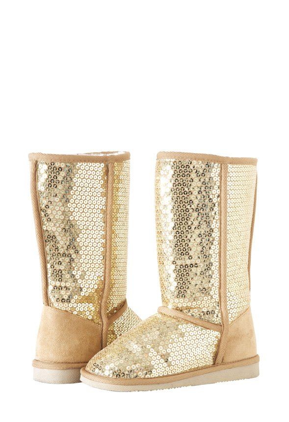 Girls Gold Sequined Winter Boots