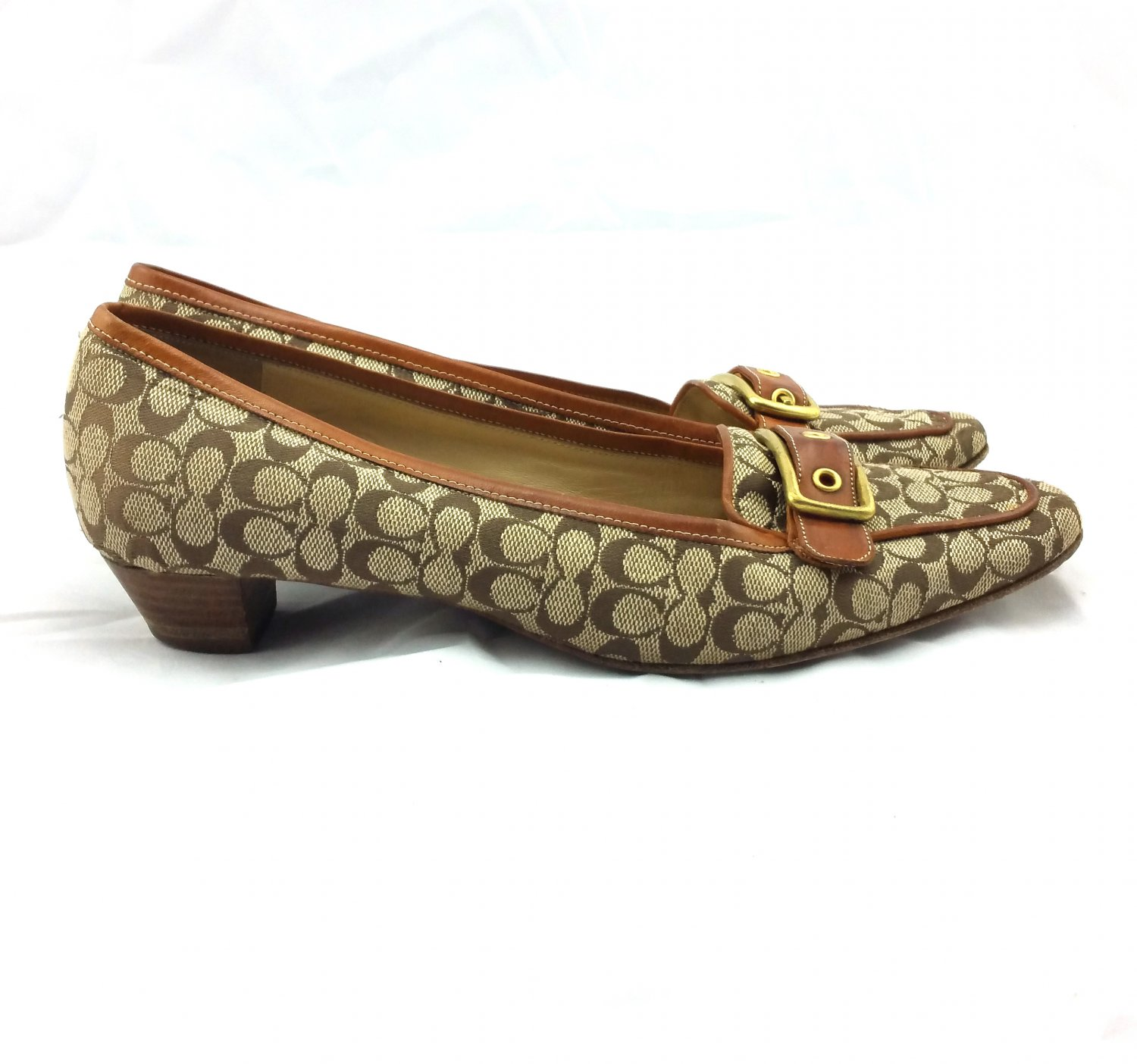 Coach Vintage Loafer Signature Buckle Brown Tan Shoes with small heel
