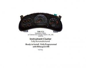 Instument Cluster 2002-2005 Chevrolet Impala 3.8L - V6 599-312