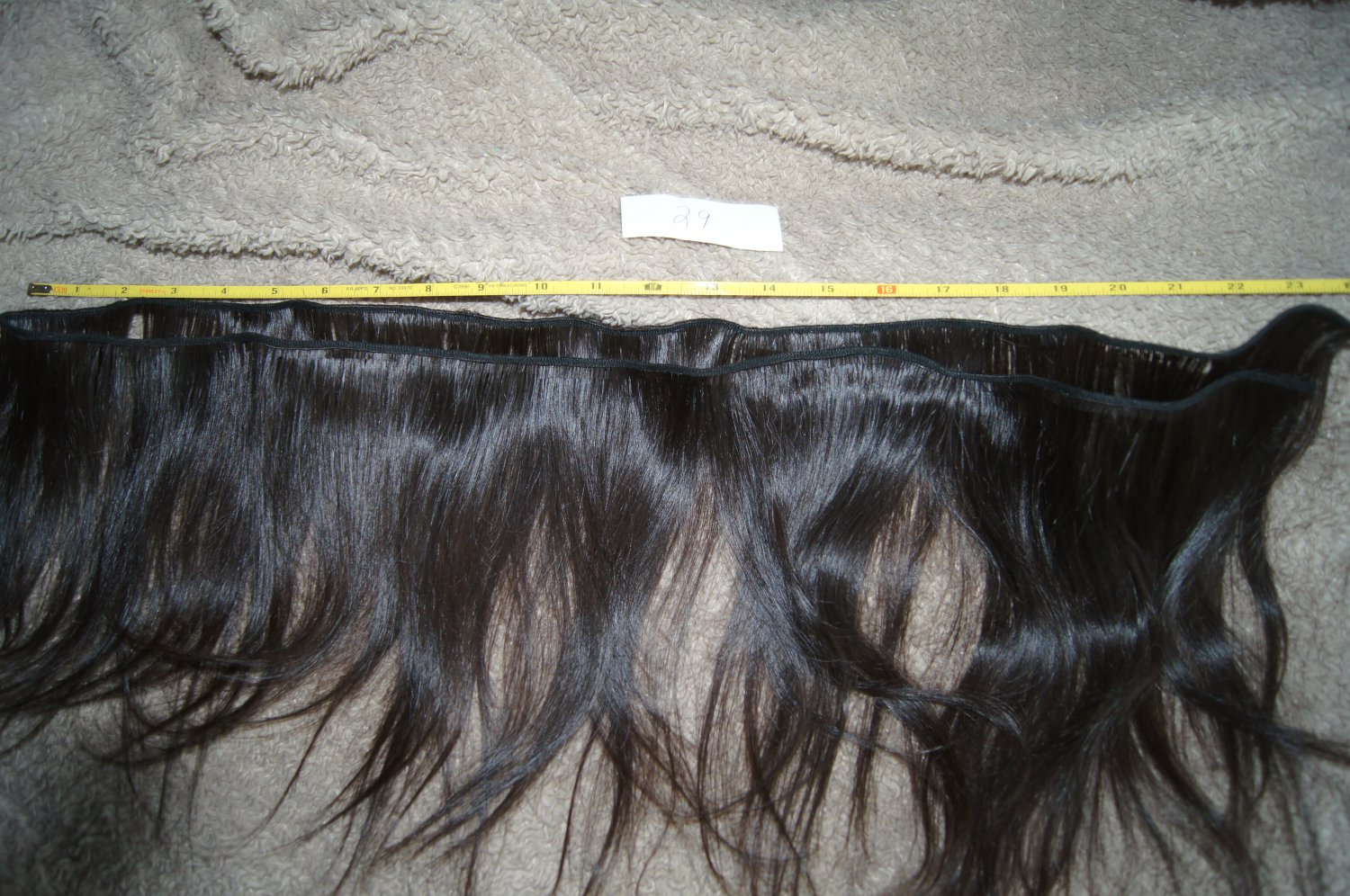 55 inch weft  human hair extension 12 inch long remy raw virgin very dark smooth  brown #29