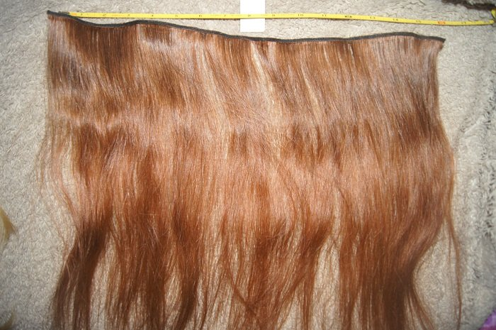 "15"" remy extension weft raw virgin dark red human hair extension"