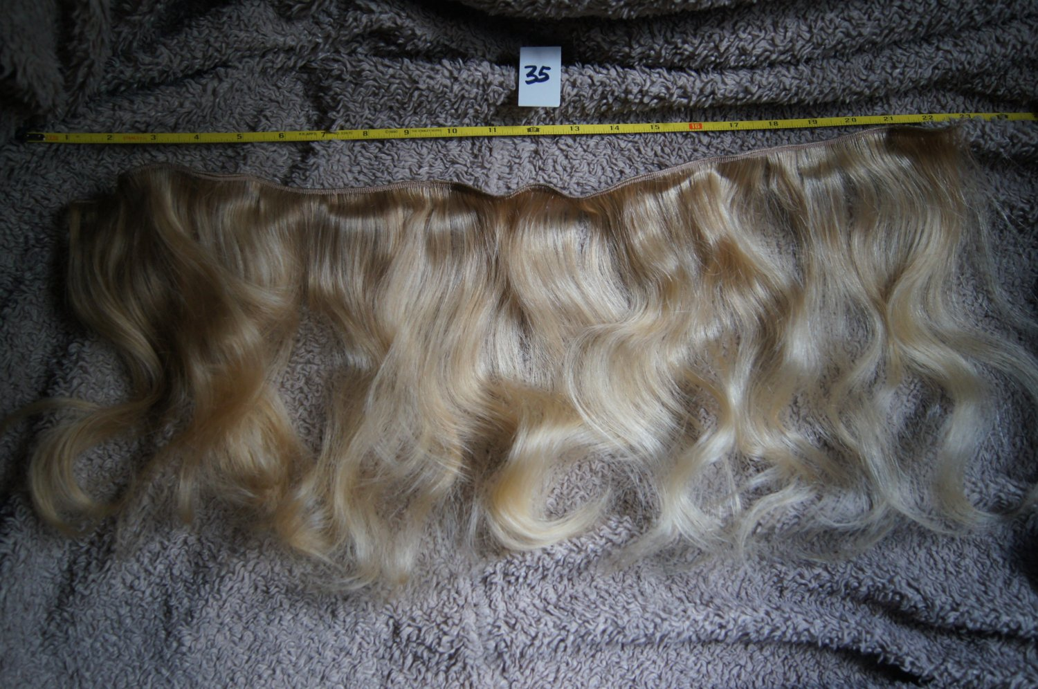 14 inch raw virgin blonde wavy curly human hair extension weft SOLD