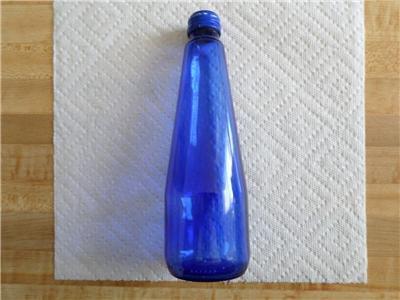 Vintage Cobalt Blue Glass Bottle -SOURCE CRYSTAL-Water Bottle? about 8 1/2' high