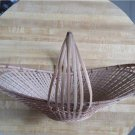 "Vintage Unusual Oblong Basket Circa 1980's - About 22"" long -China-bamboo ?"