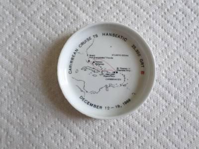 TS HANSEATIC Ashtray-Ship-Caribbean Cruise December 12-19-1969-Rosenthal Germany
