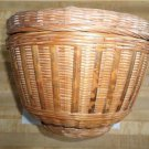 Vintage Round Covered Basket Circa 1980's -Made People's Republic Of China