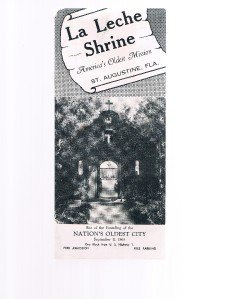LA LECHE SHRINE brochure-St Augustine Florida-America's Oldest Mission-religious