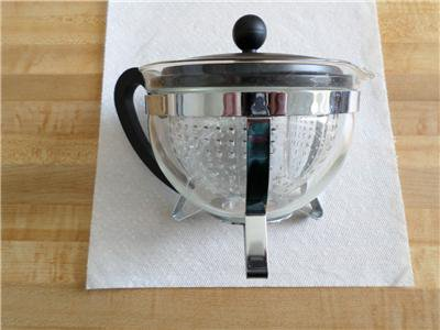 Bodum Infuser Tea Pot with black lid and clear plastic insert-teapot