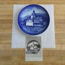 Bareuther Father's Day Plate 1970-Pfalz Castle-Hans Mueller-Vatertag-cobalt blue