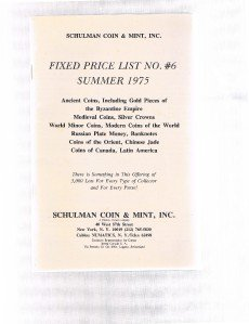 SCHULMAN Coin Catalog Summer 1975 Fixed Price List # 6-Ancient Medieval-Modern +