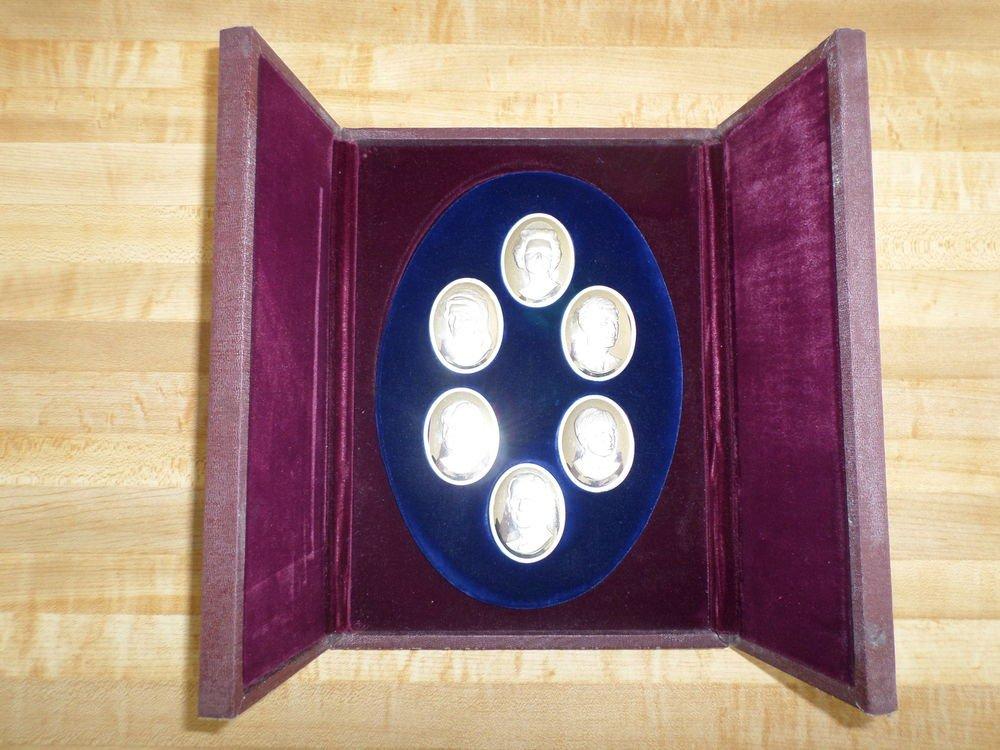 Franklin Mint Royal Family 6 Sterling Silver Cameos-Queen Elizabeth II- Philip +
