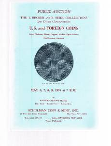 SCHULMAN Coin Auction Catalog 6 May 1974-Becker-Seidl Collections-US & Foreign +