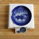 Royal Copenhagen 1987 Annual Christmas Plate -Winterbirds -Swan-Duck-Cobalt Blue