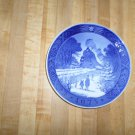 Royal Copenhagen 1973 Annual Christmas Plate-Train-Child-cobalt blue- Kai  Lange