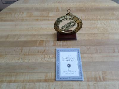 Franklin Mint Great Instruments Of Discovery-Universal Ring Dial-stand- maritime