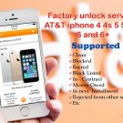 AT&T ATT IPHONE UNLOCK SERVICE - 4 4S 5 5C 5S 6 6+ BLOCKED BLACKLISTED BARRED ALL IMEI