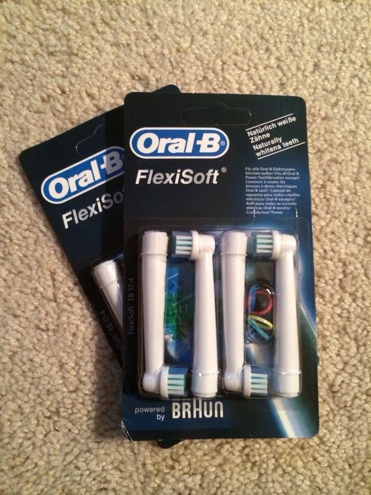 8 Genuine Braun Oral-B FlexiSoft Replacement Toothbrush Brush Heads EB 17 EB17-4