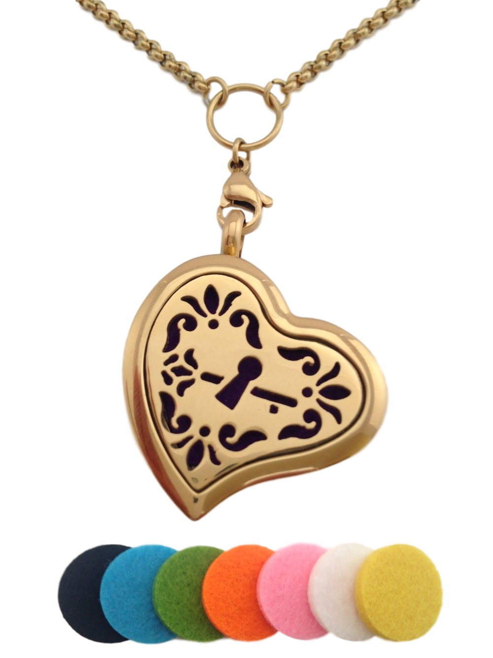 Essential Oil Diffuser Aromatherapy 24K Gold Plated Heart Pendant Necklace Locket